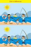 Fisher и водолаз, находят 5 разниц, настольная игра для детей, значок вектора иллюстрация вектора
