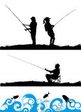 Fisher. People silhouette vector illustration Stock Images