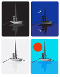 The Fisher. Man on a sailing boat at various times days Stock Image