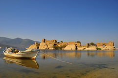 Fisher in Bafa lake in Turkey Royalty Free Stock Photography