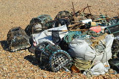Fisher baskets left on a pebble beach Stock Photo