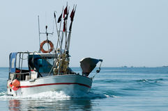 Fisher boat. A fisher boat returning to harbor Royalty Free Stock Photo