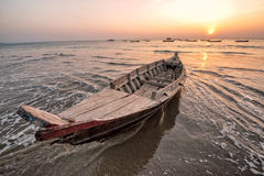 Fisher boat. Sunset at the Bay of Bengal with fisher boats Stock Photography