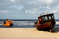 Fisher boat on beach of isle Usedom royalty free stock photos