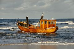 Fisher boat on beach of isle Usedom royalty free stock image