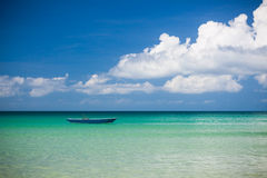 Fisher boat and clear turquoise water Royalty Free Stock Images