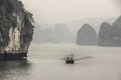 Fisher boat at Halong bay Stock Photos
