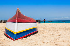 Fisher boat in Santa Maria beach in Sal Cape Verde - Cabo Verde Stock Image