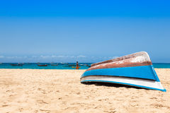 Fisher boat in Santa Maria beach in Sal Cape Verde - Cabo Verde Stock Photos