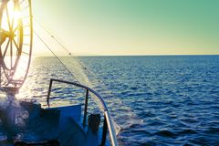 Fisher boat in a sea. Fishing equipment Royalty Free Stock Photography