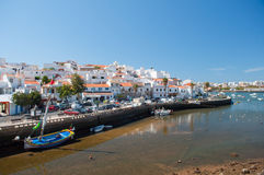 Fisher boats in Ferragudo little village, Algarve, Portugal Royalty Free Stock Photo