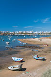 Fisher boats in Ferragudo little village, Algarve, Portugal Royalty Free Stock Image