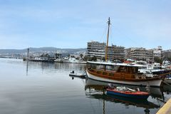 Fisher boats in the harbor of the ancient town of Kavala, greece Stock Images