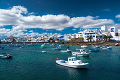 Fisher boats at the laguna Charco de San Gines, Arrecife stock image