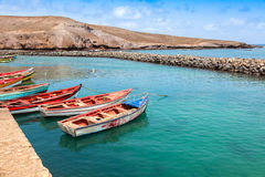 Fisher boats in Pedra Lume harbor in Sal Islands - Cape Verde - Royalty Free Stock Photography