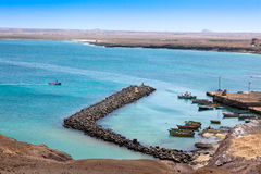 Fisher boats in Pedra Lume harbor in Sal Islands - Cape Verde - Stock Photography