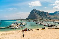 Fisher boats and yachts in the harbor of San Vito Lo Capo. Stock Images