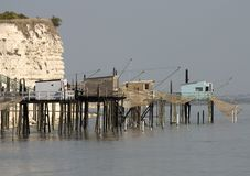 Fisher cabins in Gironde estuary, France. Fisher cabins in Gironde estuary in France stock photos