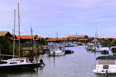 Fisher cabins near Arcachon (France) Royalty Free Stock Image