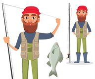 Handsome fisher, cheerful cartoon character. Fisher cartoon character, set. Fishermen with caught fish and with fishing rod. Vector illustration Stock Photos