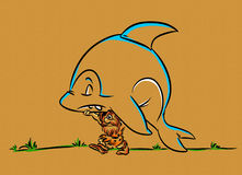 Fisher caveman and fish shark Stock Images