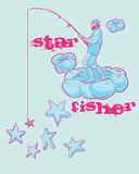 Fisher Design. A grunge T-shirt design of a fisherman fishing stars while standing on a cloud with the caption - 'Star Fisher Stock Image