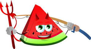 Fisher devil slice of watermelon Royalty Free Stock Images