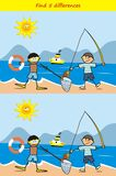 Fisher and diver, find 5 differences, board game for children, vector icon. Colored picture Royalty Free Stock Image
