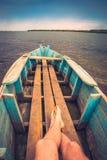 Fisher en un barco Imagen de archivo