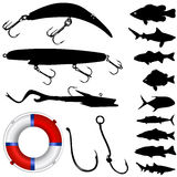 Fisher equipments and fishs. Set of fisher equipments and fish silhouettes vector Royalty Free Stock Photos