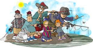 The Fisher family. This illustration that I created depicts a family fishing Royalty Free Stock Photos