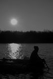 Fisher. I would like to draw the silhouette of a fisherman. It was very emotional Stock Images