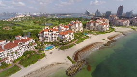 Fisher Island aerial drone video stock video footage