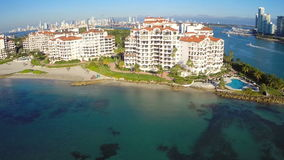 Fisher Island aerial video stock footage
