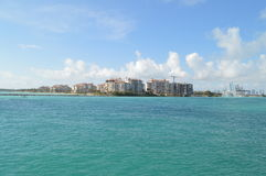 Fisher Island, Miami Beach, Florida. Coastline of Fisher Island, Miami Beach, Florida, USA on sunny day royalty free stock photo