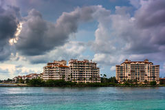 Fisher Island, seen from South Beach, Miami, Florida. Royalty Free Stock Photography