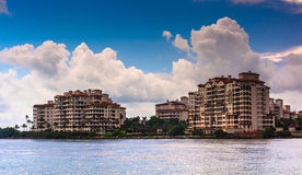 Fisher Island, seen from South Beach, Miami, Florida. Royalty Free Stock Image