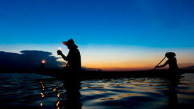Fisher Lamplighter. Went home at sunset Royalty Free Stock Photography