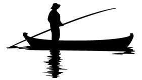 Fisher Man in boat. A vector silhouette image of a fisherman in a boat Stock Images