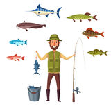 Fisher man, fish catch of isolated vector fishes. Fisherman with fishing rod and fish catch in bucket. Happy fisher man holding fish on hook. Sea or river Stock Image