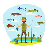 Fisher man with fish catch vector fishing Stock Photography