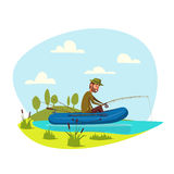 Fisher man fishing on boat with fish rod vector Stock Images