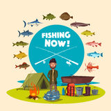 Fisher man fishing camp and vector big fish catch Stock Images