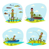 Fisher man fishing vector big fish catch Stock Photography