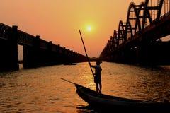 Fisher man. In river godavari at rajahmundry royalty free stock photos