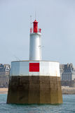 Fisher men in action at the lighthouse of St Malo Royalty Free Stock Images