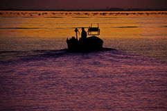 Fisher on motor boat at work on sea by twilight Stock Photography