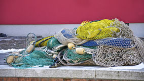 Fisher net on the coast Stock Images