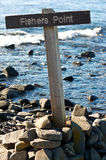 Fisher Point sign. Australia Coockle creek  Tasmania fishing holyday adventure season sea ocean pacific rod pole Royalty Free Stock Image
