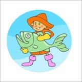 Fisher pojke Arkivbild